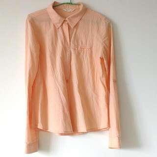 NET 年輕活力 粉橘 長袖棉質襯衫 S號