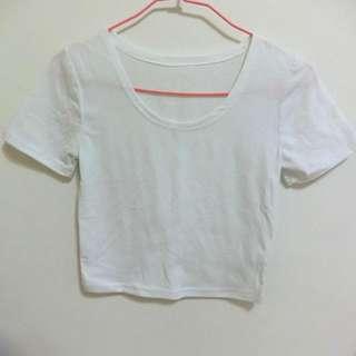全新✨白色短版棉T