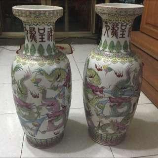 九龍九鳳 瓷瓶 花瓶 大花瓶