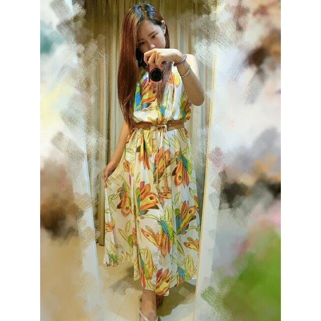 [二手] 波西米亞渡假風孔雀羽毛削肩雪紡長洋裝
