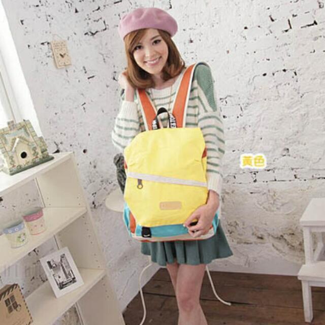 #運費我來出 ❤日系樂活學院風斜拉練設計雙環扣撞色 後背包