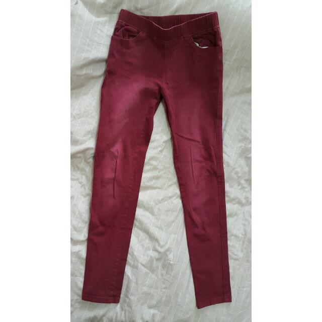 酒紅 色褲 長褲