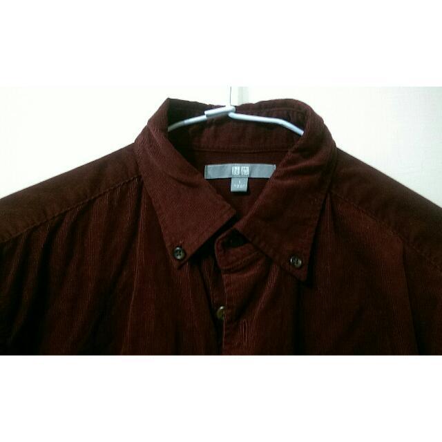 Uniqlo燈芯絨酒紅襯衫