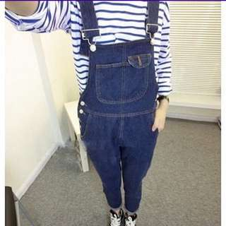 牛仔背帶褲 寬鬆大碼XL 深藍(全新)