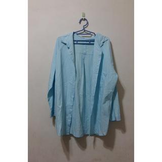 韓版-寬鬆淨面長款長袖襯衫