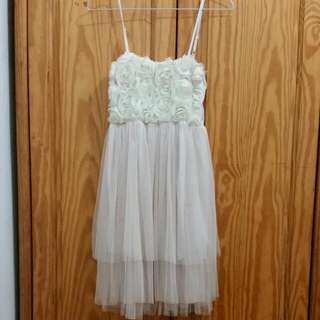 (二手)細肩帶玫瑰拼接紗裙小洋裝※米黃