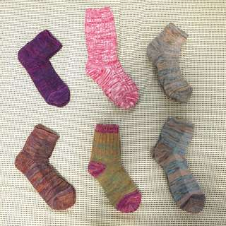 日本彩色麻花針織襪