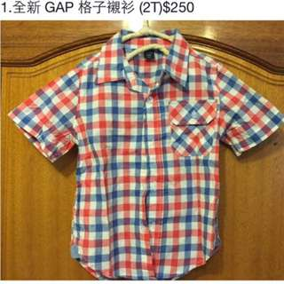 全新gap Baby 格子襯衫