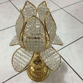蓮花水晶檯燈,寬:25cm,高:40cm,老爸工廠直營,可議價!(如欲購買,整理乾淨售出)