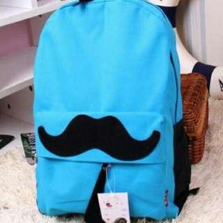 Lovely Moustache Canvas Lake Blue Backpack 16195 LB