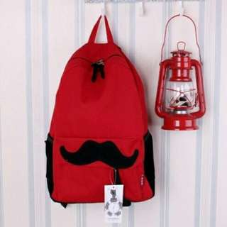 Lovely Moustache Canvas Deep Red Backpack 16195DR