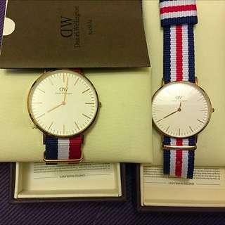 Dw時尚男女對錶。附購買證明⏰