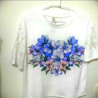 (全新)MIZ飽和色系花朵拼接蕾絲T