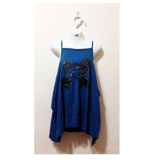 藍色細肩蝴蝶結圖案側邊開口上衣