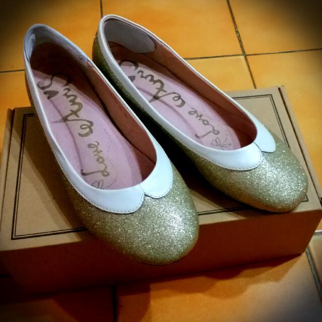 (二手)金色亮片款※微內增高平底娃娃鞋 24.5cm