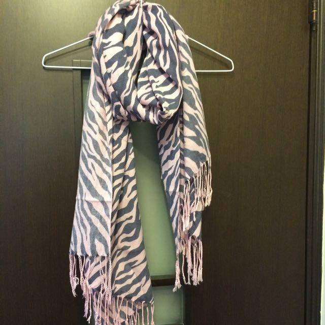 粉色斑馬紋圍巾
