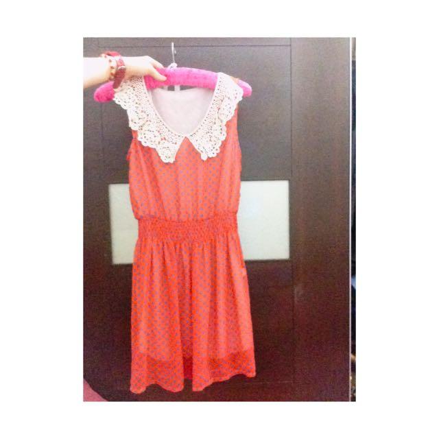 ✨橘紅底藍點 雪紡蕾絲邊洋裝