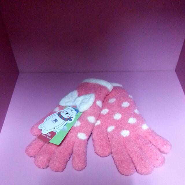Snowstone 蝴蝶結 點點 保暖手套