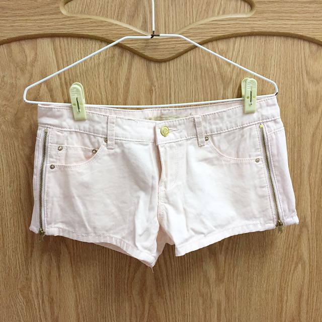 全新 貓咪曬月亮 粉色側拉鏈牛仔短褲