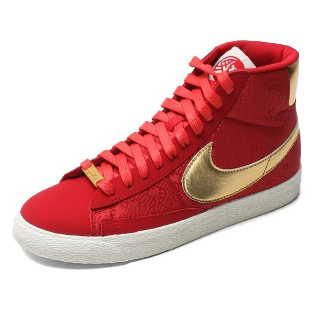 (二手) NIKE 紅金 圖騰 馬年限定 中筒休閒鞋 24.5cm