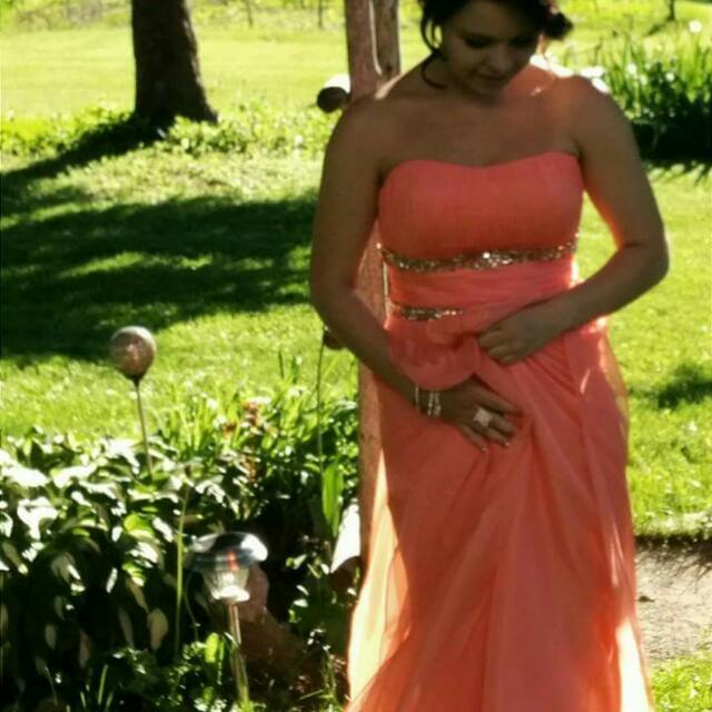Coral Coloured Prom Dress w/ Embellishment