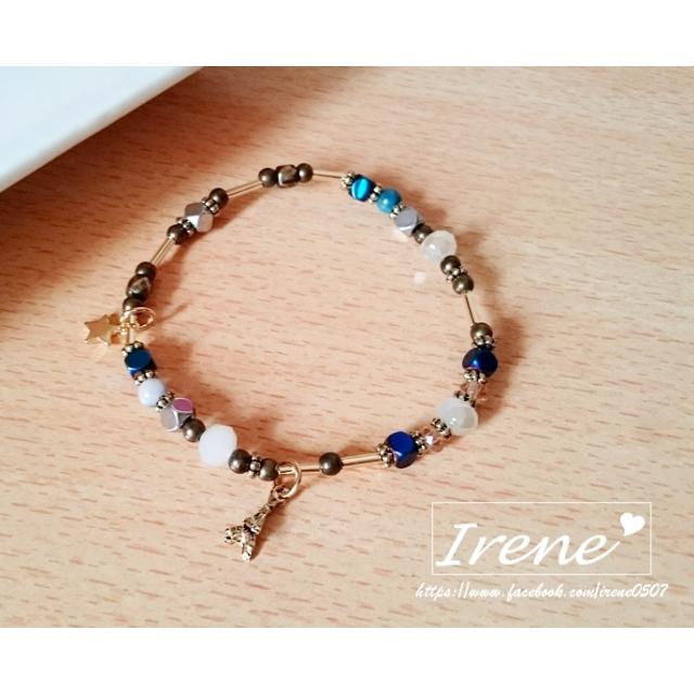 IRENE韓國飾品❥鐵塔星星原石串珠手鍊