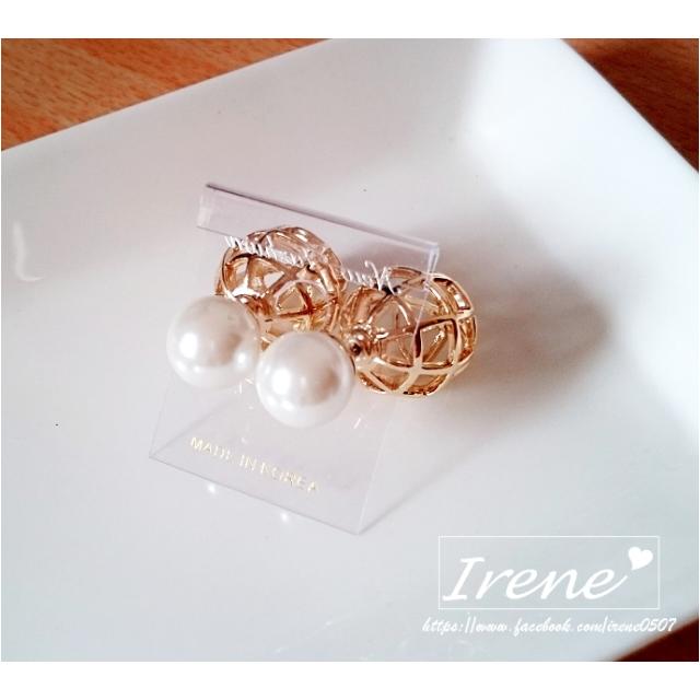 (保留)IRENE韓國飾品❥立體簍空球珍珠前後扣耳環