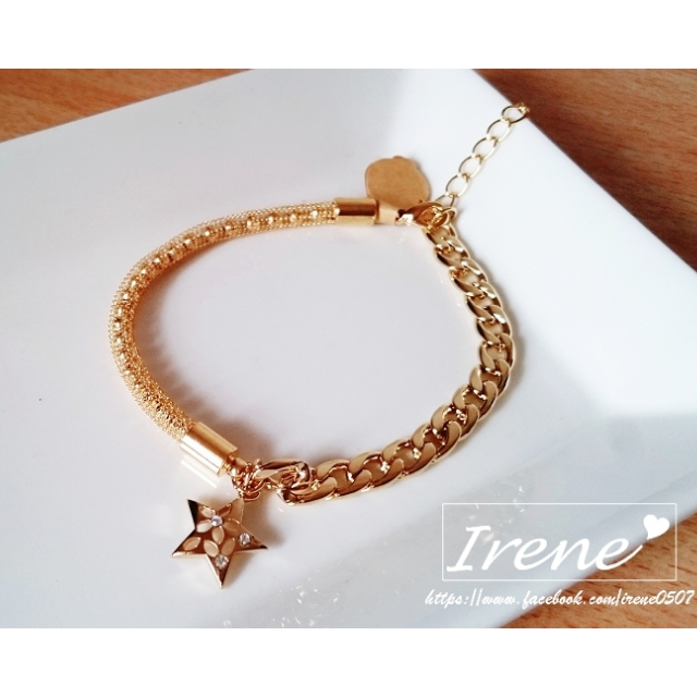 IRENE韓國飾品❥網珠金鍊水鑽星星不對稱手鍊