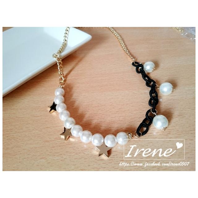 IRENE韓國飾品❥珍珠星星墬飾不對稱項鍊