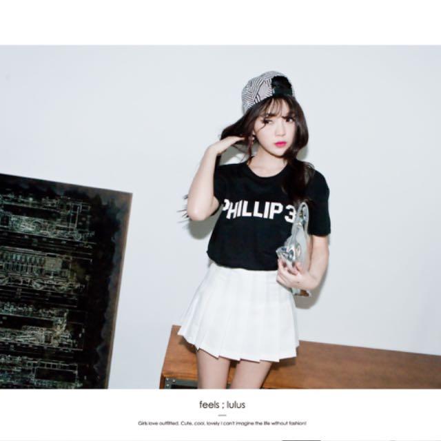 Lulus白色百摺裙M號