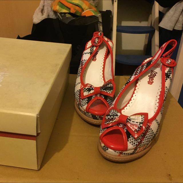 Miss Sofi 格子紅 楔形鞋