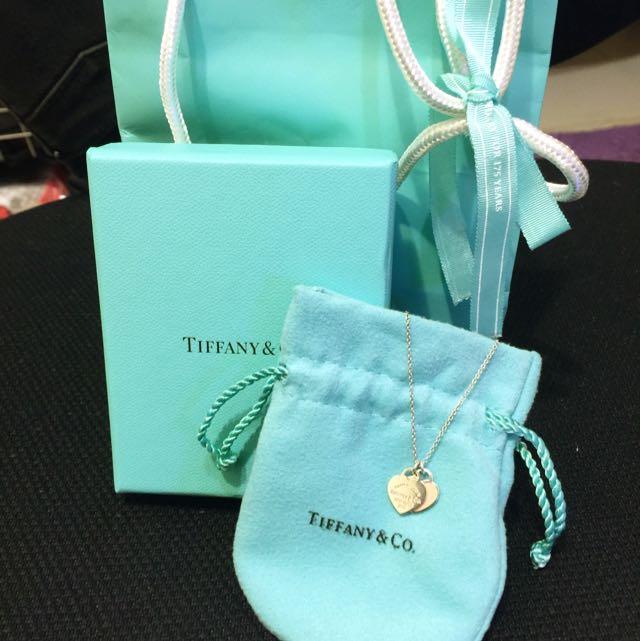保留中-Tiffany&Co. mini 雙色雙心牌純銀項鍊 (粉紅)