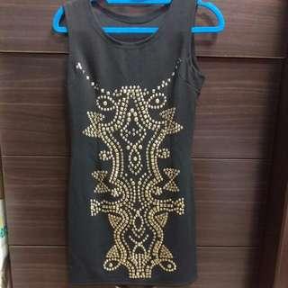 全新,黑色鉚釘背心洋裝