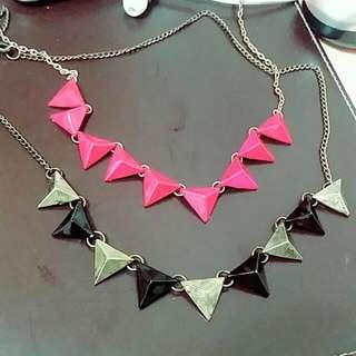 仿舊三角配色項鍊