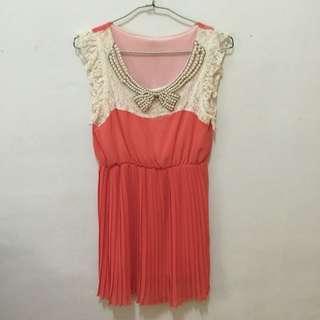 無袖粉嫩橘洋裝