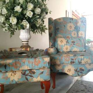 Sky Blue Floral Designed Wing Chair + Ottman