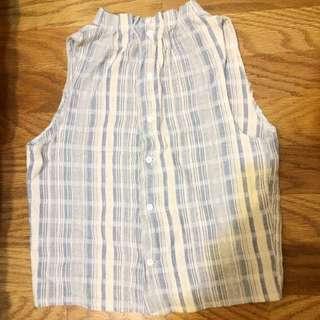 (保留哩)小清新森林系棉麻材質無袖襯衫