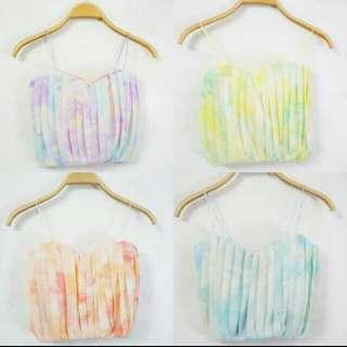 Pastel Paddlepop Pleated Bralet / Crop Top