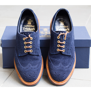 Trickers Keswick Derby Brouge UK 8 - Midnight Blue Repello Suede