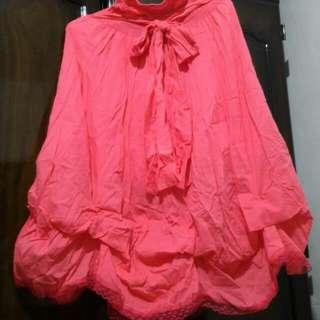 全新sassy粉桃紅色長短裙