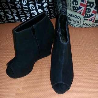 (免運)黑色魚口厚底高跟鞋