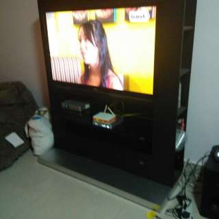 Singaporean Designer Tv Console comes With Ori Tv Rack (Allow To Hang Up To 50inches Tv)& Also CDs & Book Racks.