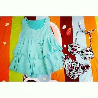 9成新【含運】👙蒂芬妮綠雪紡背心+桃紅豹紋果綠比基尼/ 三件組 F