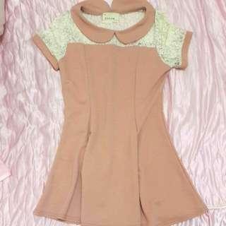 粉色短袖傘洋 -韓