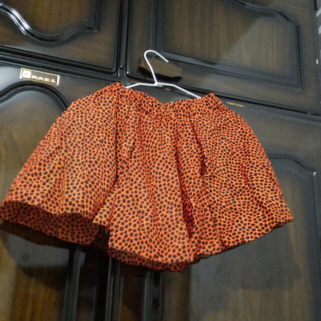 全新紅底黑點鬆緊短裙