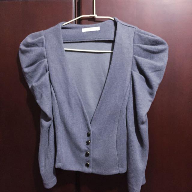 公主袖氣質洋裝外搭小外套(灰藍)