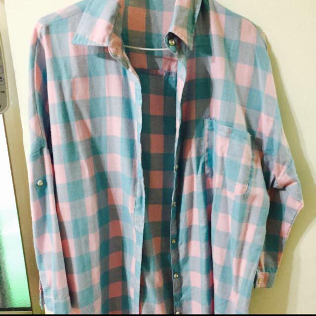 藍粉長板襯衫