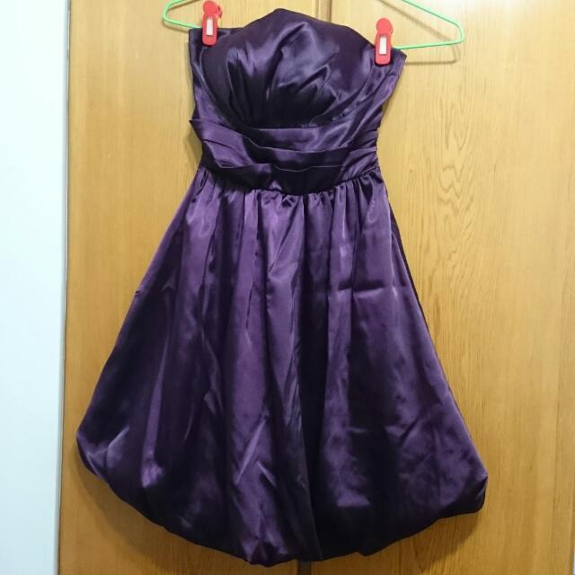 紫色緞面小禮服