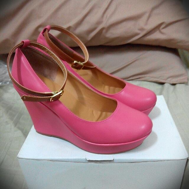 【保留ing😇楔型】可拆式踝帶▶粉紅高跟鞋