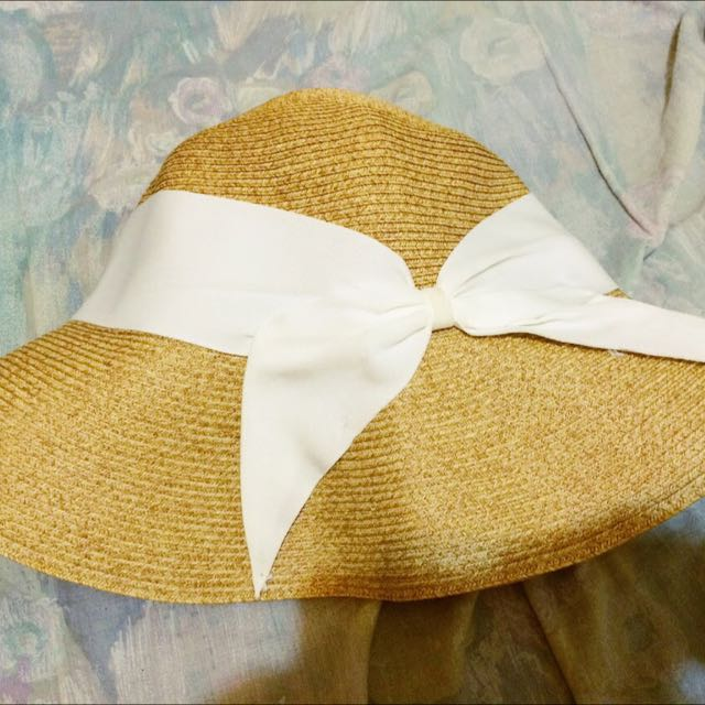 氣質白蝴蝶結遮陽帽